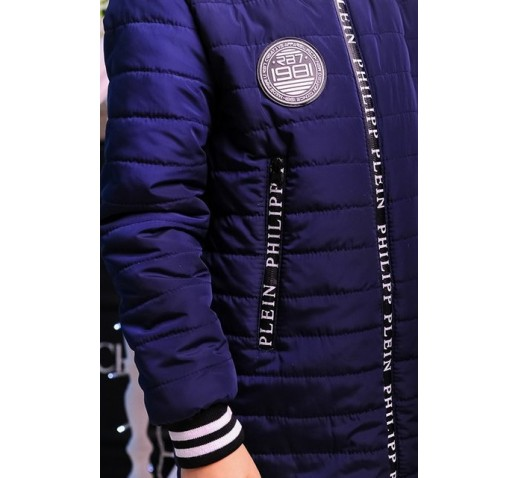 "Демисезонная куртка на девочку ""Бомбер"" электрик"