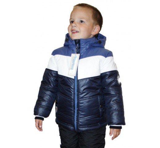 "Зимний комбинезон на мальчика ""Smile"" белый - голубой"